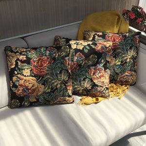 3 Vintage Black with Floral Print Throw Pillows